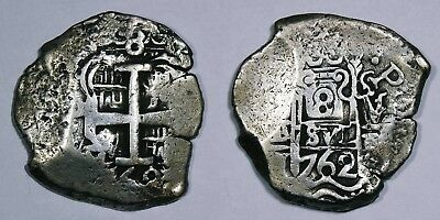 Spanish colonial, Bolivia, Charles III, silver cob 8 reales 1762. 2 clear dates!