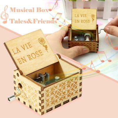 Antique Wooden Music Box Hand Cranked Musical Box Christmas Birthday Gift