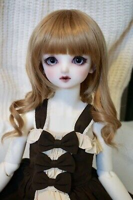 1/3 BJD WIG 9-10 inch 23-25cm Brown Curly Heat Resistant Doll Hair Accessory SD