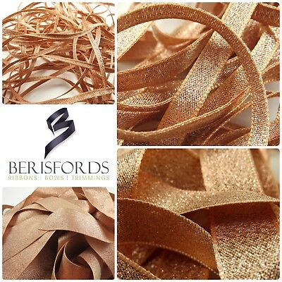 Berisfords Rose Gold Sparkling Lame Metallic Glitter Ribbon 3, 7, 15, 25 & 40mm