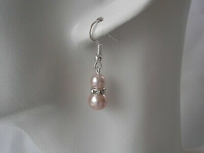 57s Pearl & Diamante Dangle Drop Hook Earrings for women girls bridesmaids bride