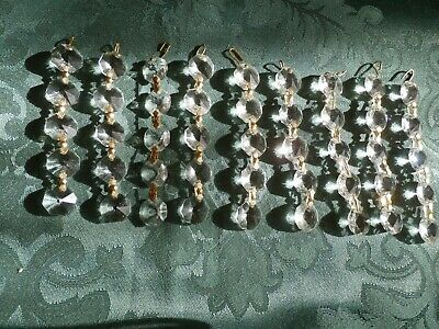 9 strands of  5 glass octagons studs, reclaimed from a old Crystal  Chandelier f