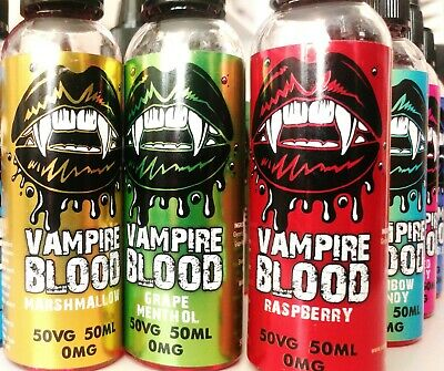 Vampire Blood E Liquid 300/200/100 ML Vape Juice - 50/50 PG/VG 0-3-6mg- UK Made