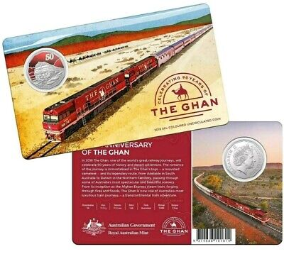 Mint SOLD OUT! 2019 Coloured 50c 90th Anniversary of The Ghan Train in Mint Card