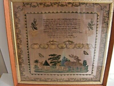ANTIQUE GEORGIAN VICTORIAN  19th Century SILK SAMPLER With STAGS DEER ANN NORKS