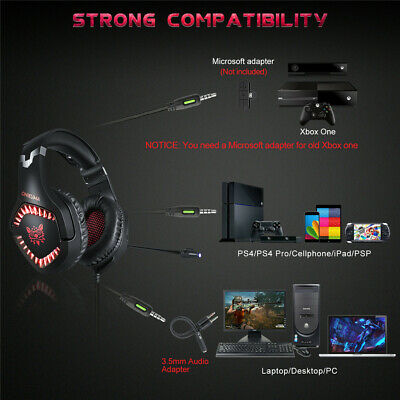 Onikuma K1PRO PC Gaming Headset for PS4 XBOX One 3.5mm Stereo USB LED Headphones