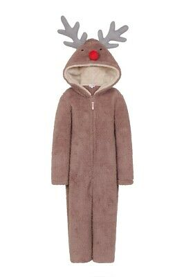Unisex Kids Cute Novelty Hood Reindeer Snuggly Fleece All In One Sizes Age 5-10
