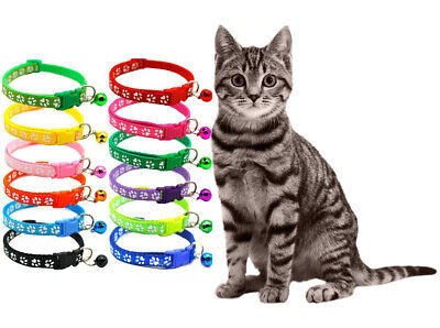 Cats / Kittens: Fully Adjustable Paw Print, Easy Fasten Safety Collar With Bell
