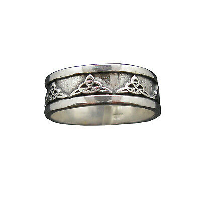 Sterling Silver Ring Celtic Knot Band Genuine Solid Hallmarked 925 8mm Wide