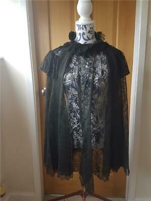 Antique Victorian  Black Lace Mourning Shawl Cape