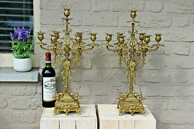 HUGE Rare pair bronze Figural gothic castle Dragons Candelabras candle holder