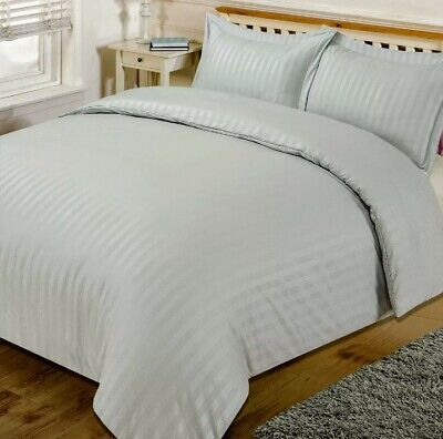 Brentfords Satin Stripe Quilt Duvet Cover Bed Set Silver King-Size