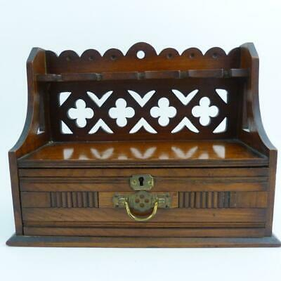 Antique Walnut Pipe Rack With Drawer, 19Th Century