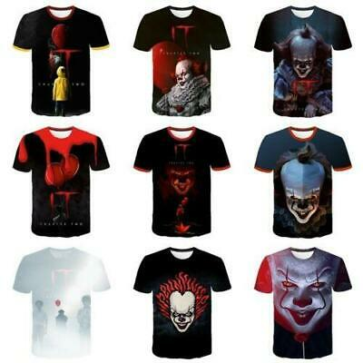 2019 New Stephen King IT Pennywise T Shirt Clown Horror Scary Halloween Tops