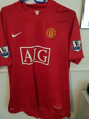 Manchester United Home Shirt 2007. Large. Nike. Red Man Utd Football Top Only L.