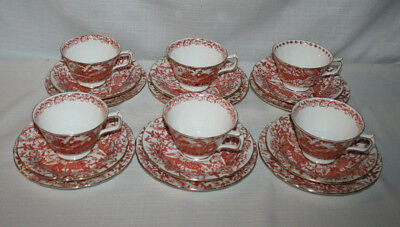 Vintage Royal Crown Derby Red Cup Saucer & Cake Plates Set Of 6 (18 Pieces)