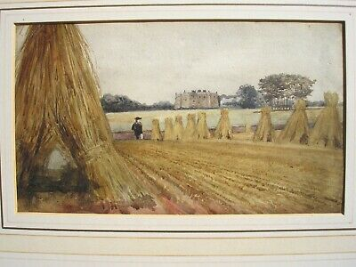 Antique Watercolour Painting, Early 19th Century Harvest Country House Ireland ?
