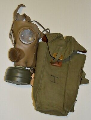 Vintage Military Gas Mask Rubber Mask Filter and Bag Halloween Costume WWII