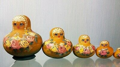 Nest of Five Miniature Stacking Wooden Matryoshka Russian Dolls