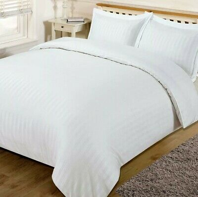 Brentfords Satin Stripe White Quilt Duvet Cover Bed Set Double