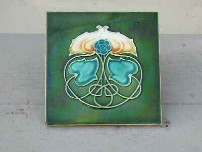 "Lovely Old English  Art Nouveau Tile. circa. 1905  ( 6"" X 6"" )"