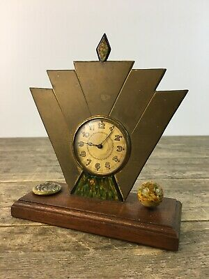 Working Art Deco 1920's Brass & Wooden Clock With Finial Designs.