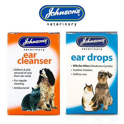 Johnsons Ear Cleanser Ear Drops Dogs Cats Kills Mites Softens Wax Antibacterial