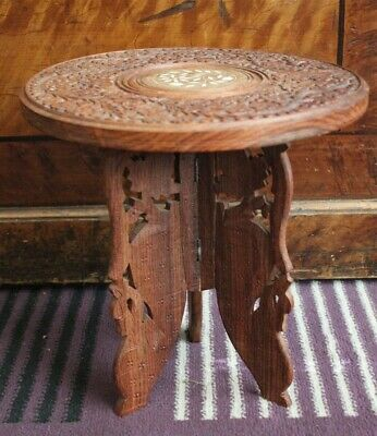 """Vintage Indian Wooden Folding Table Ornately Carved - Mother of Pearl - 13"""" H"""