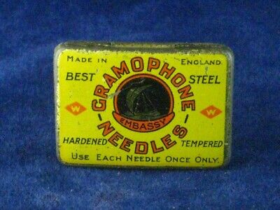 39916 Old Antique Vintage Gramophone Needle Tin Box Record Player Embassy Full