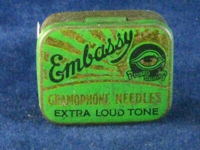 39887 Old Antique Vintage Gramophone Needle Tin Box Record Player Embassy