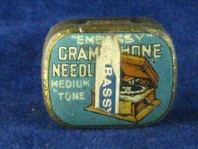 39885 Old Antique Vintage Gramophone Needle Tin Box Record Player Embassy
