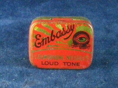 39870 Old Antique Vintage Gramophone Needle Tin Box Record Player Embassy
