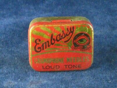 39945 Old Antique Vintage Gramophone Needle Tin Box Record Player Embassy