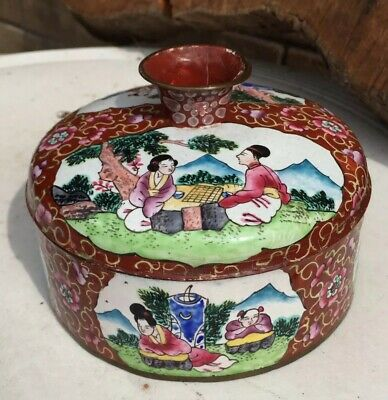 Antique Chinese Hand Painted Enamel on Copper Round Box