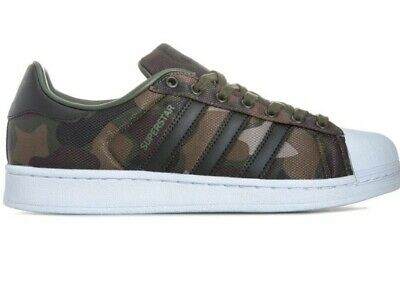 Mens Adidas Originals Superstar Trainers Green Camouflage UK Size 8