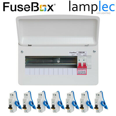 Fusebox 10 Way Metal Consumer Unit with 6 RCBOs 100A Main Switch RCBO Board