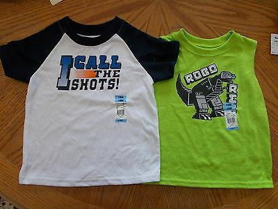 Garanimals Boys Size 18 Months Short Sleeve And Sleeveless Shirts Lot Of 2 NWT