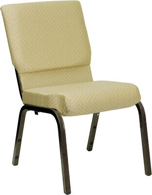 18.5'' Wide Beige Patterned Fabric Stacking Church Chair with Gold Vein Frame
