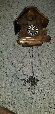 Cuckoo G.M West Germany For Parts Wooden Clock Movemant black forest as is 859