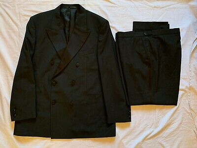 Marks & Spencer Double Breasted Black Tuxedo Evening Suit 44R Jkt 40R Trousers