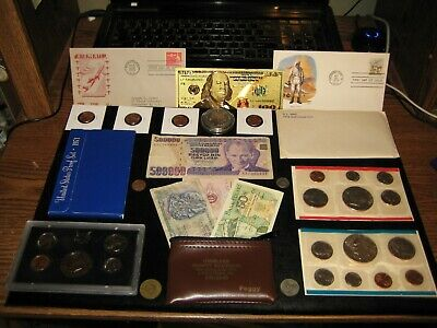 Junk Drawer Big Coin Lot 1974 IKE DOLLAR Mint Set 1971 Proof Set Currency Penny