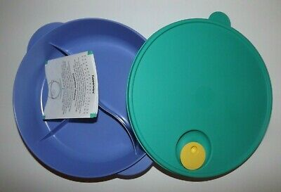 """Tupperware (New) Crystalwave Large 10"""" Microwave Divided Plate w/Steam Release"""