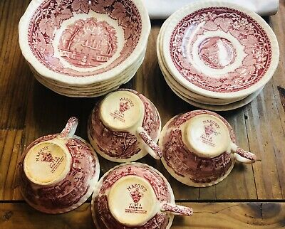 Group Of 16  Cups & Saucers & Bowls Masons Ironstone Vista Pat Irin- Red - As Is