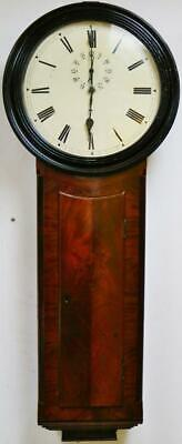 Antique 19thC English Drop Dial Clock Flame Mahogany Timepiece Tavern Wall Clock