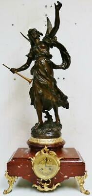 Huge Antique French 8 Day Striking Red Marble With Angel Figurine mantel Clock
