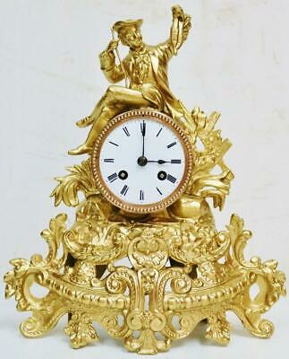 Antique French 8 Day Bell Striking Gilt Metal Fisherman Figurine Mantel Clock