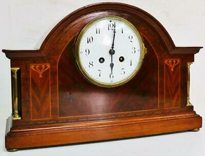 Antique French 8 Day Gong Striking Inlaid Mahogany Arched Top Mantel Clock
