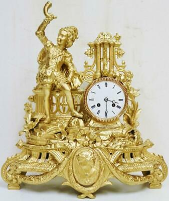 Large Antique French 8 Day Striking Gilt Metal Gentleman Figurine Mantel Clock