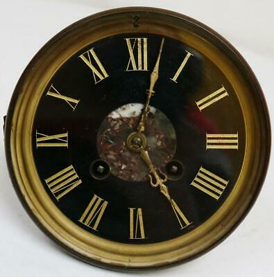 Antique French 8 Day Gong Striking Clock Movement Black Marble Dial & Back Door