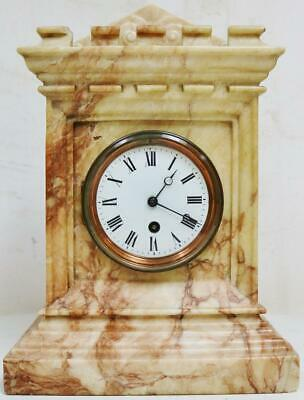 Antique 19thC French 8 Day Architectural Limestone/Marble Timepiece Mantel Clock